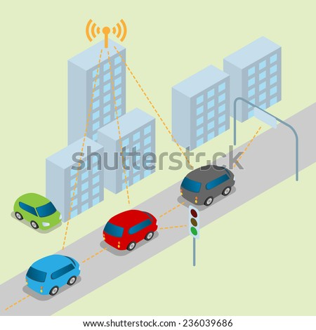 Connected Car, Intelligent Car, vector illustration - stock vector