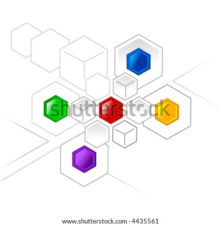 Connected color hexagons and cubes for various projects - stock vector