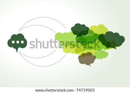connected green cloud speech bubbles - stock vector