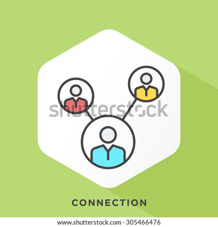 Connected people icon with dark grey outline and offset flat colors.  - stock vector