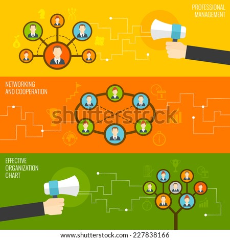 Connected people professional management networking and cooperation effective organizational chart flat banner set isolated vector illustration - stock vector