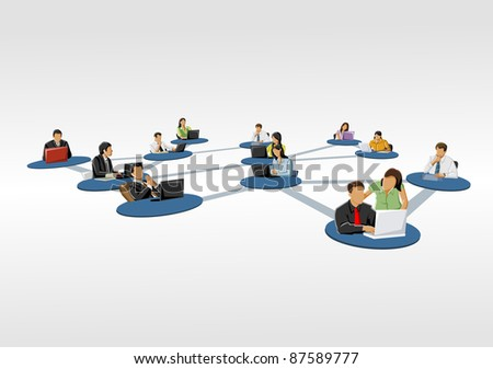 connected people. Social network. - stock vector