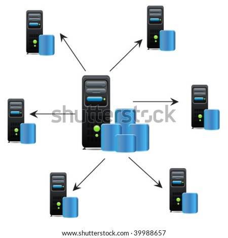 Connected servers with main server - stock vector