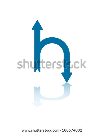 Connected Straight and U-Turn Arrows Illustration - stock vector
