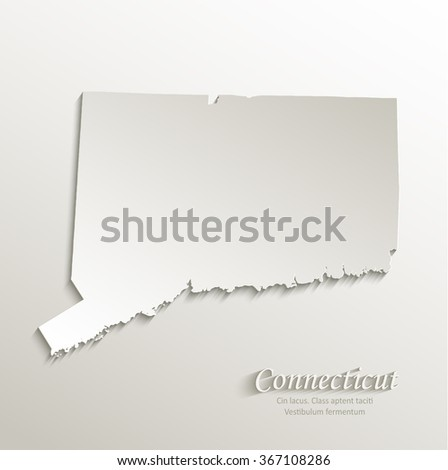 Connecticut map card paper 3D natural vector