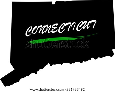 Connecticut map vector in black and white background, Connecticut map outlines in a new design - stock vector