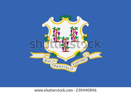 Connecticut State Flag vector. Original and simple Connecticut flag isolated vector in official colors and Proportion Correctly.  - stock vector