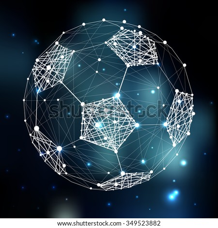 Connection abstract vector structure shaped in football ball. Futuristic technology wire frame. Mashed background. Geometric digital art illustration - stock vector