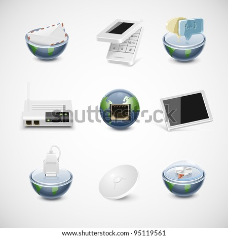 connection and net vector icon set - stock vector