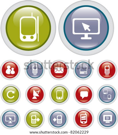 connection buttons, icons, signs, vector illustrations - stock vector