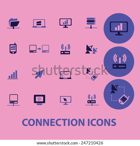 connection, communication, network icons, signs, illustrations set, vector - stock vector