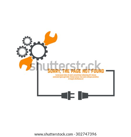connection error. Abstract background with wire plug and socket. Sorry, page not found. vector. - stock vector