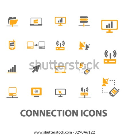 connection icons - stock vector