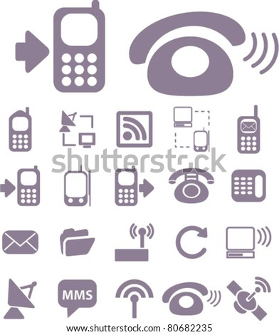 connection icons set, illustrations, vector - stock vector