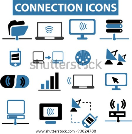 connection icons set, vector illustrations - stock vector