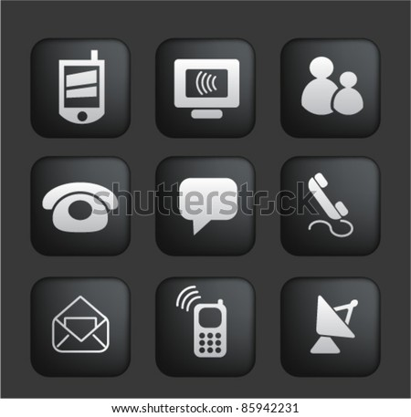 connection & internet square black web buttons, icons, signs, vector - stock vector