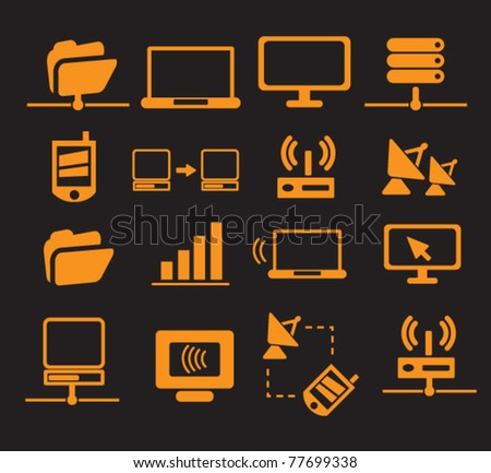connection & network icons, vector - stock vector