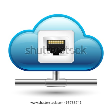 Connection to the Cloud Computing. Vector Icon - stock vector