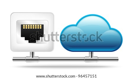 Connection to the Cloud. Vector Icon - stock vector