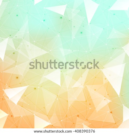 Connections background, abstract background with many dots connected with lines, outlined and filled in transparent triangles with beautiful soft colored mesh gradient