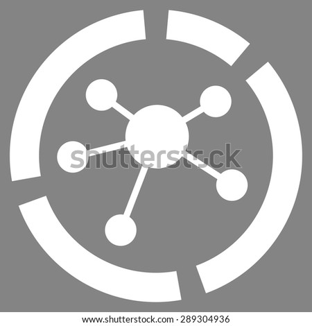 Connections diagram icon from Business Bicolor Set. Vector style: flat symbol, white color, rounded angles, gray background. - stock vector