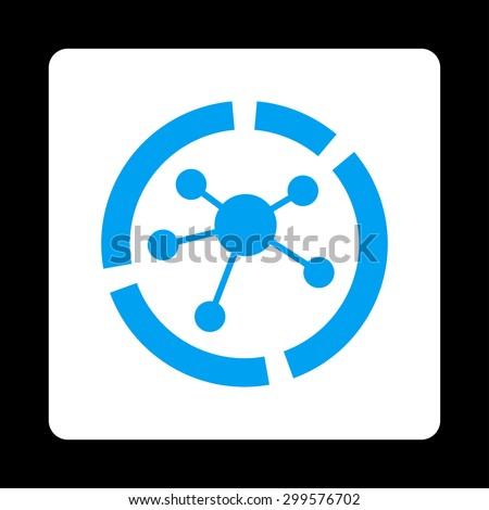 Connections diagram icon. Vector style is blue and white colors, flat rounded square button on a black background. - stock vector