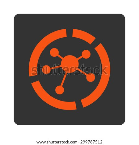 Connections diagram icon. Vector style is orange and gray colors, flat rounded square button on a white background. - stock vector