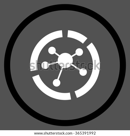 Connections Diagram vector icon. Style is bicolor flat circled symbol, black and white colors, rounded angles, gray background. - stock vector