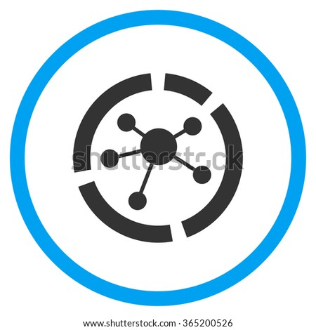 Connections Diagram vector icon. Style is bicolor flat circled symbol, blue and gray colors, rounded angles, white background. - stock vector