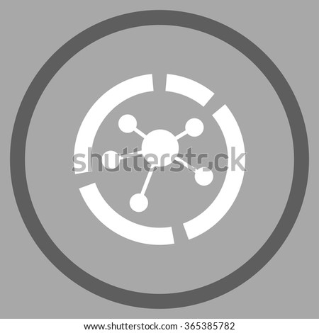 Connections Diagram vector icon. Style is bicolor flat circled symbol, dark gray and white colors, rounded angles, silver background. - stock vector
