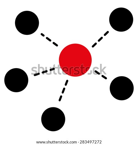 Connections icon from Business Bicolor Set. Collection style: flat bicolor symbols, intensive red and black colors, rounded angles, white background. - stock vector