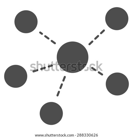 Connections icon from Business Bicolor Set. Vector style: flat symbols, gray color, rounded angles, white background. - stock vector