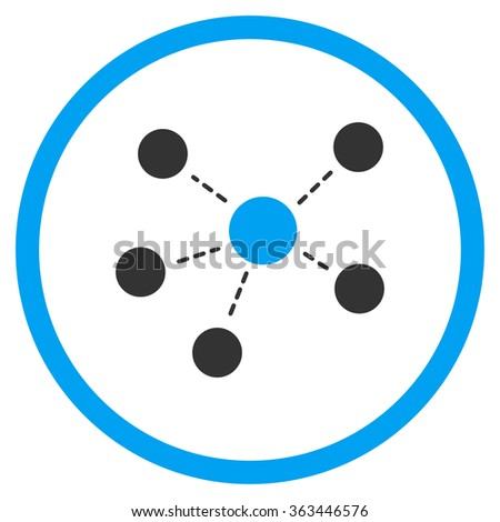 Connections vector icon. Style is bicolor flat circled symbol, blue and gray colors, rounded angles, white background. - stock vector