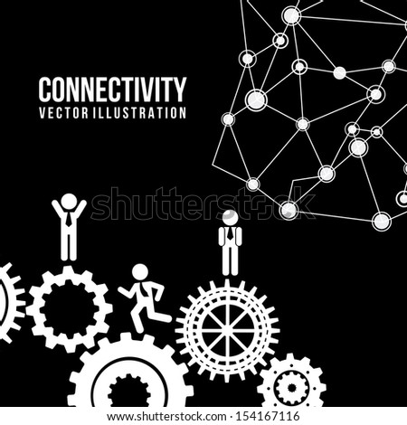 connectivity design  over black background vector illustration    - stock vector
