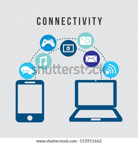 connectivity icons over gray background vector illustration - stock vector