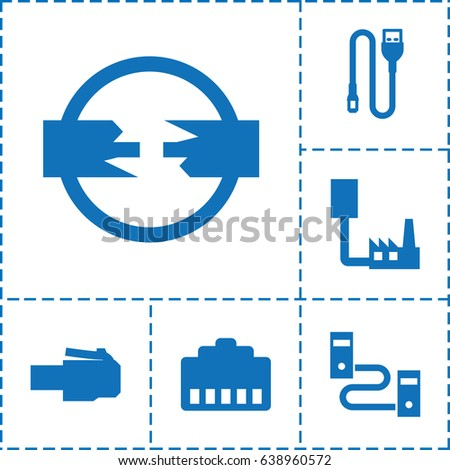 Connector Icon Set 6 Connector Filled Stock Vector 638960572 ...