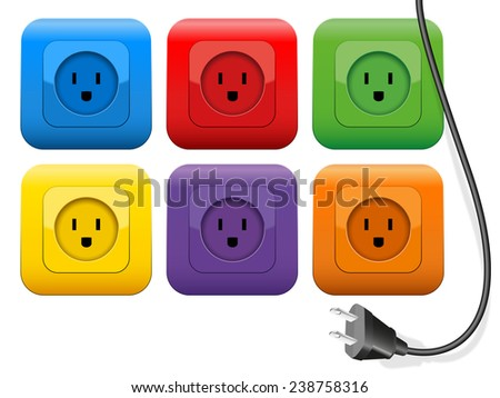 Connector plug which has plenty of choice of colorful sockets. Isolated vector illustration on white background.