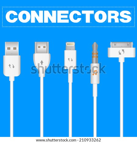 Connectors and sockets for PC and mobile devices. Vector illustration isolated on blue background. - stock vector