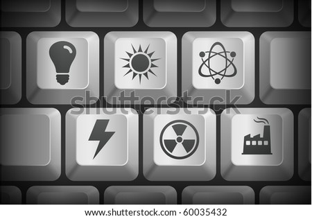 Conservation Icons on Computer Keyboard Buttons Original Illustration - stock vector
