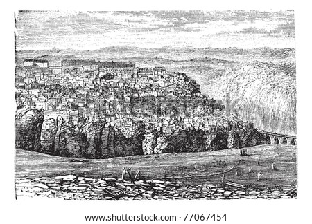 Constantine, in Algeria, during the 1890s, vintage engraving. Old engraved illustration of Constantine.  Trousset Encyclopedia - stock vector