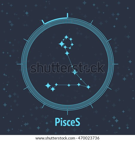 Constellation Pisces on dark background with text. Horoscope circle. Zodiac sign. Vector illustration