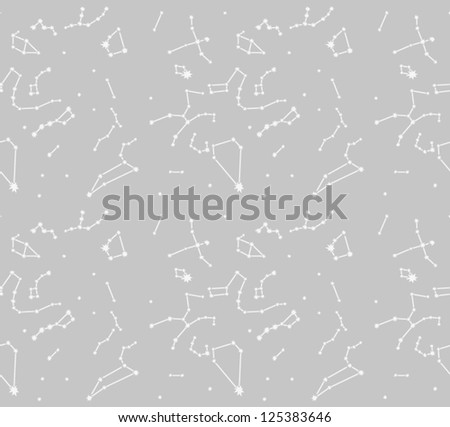 Constellation seamless pattern. Night sky background with star. Vector illustration - stock vector