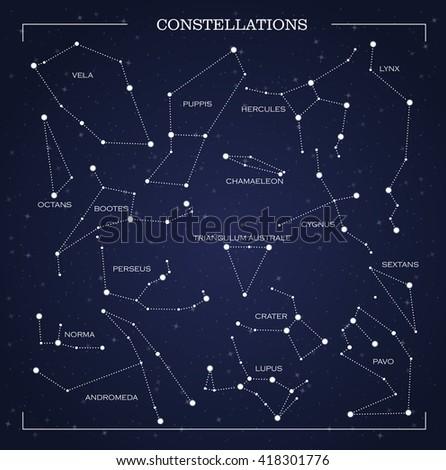 Constellations, night sky, vector - stock vector