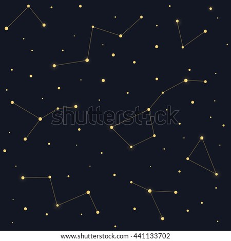 Constellations seamless pattern. Ursa Major Big Dipper, Cassiopeia on dark night sky background.