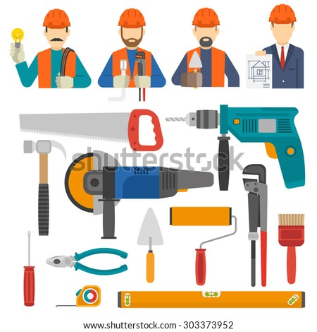 Construct icons flat set with engineer avatars and worker tools isolated vector illustration - stock vector