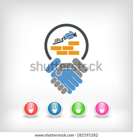 Construction agreement icon - stock vector