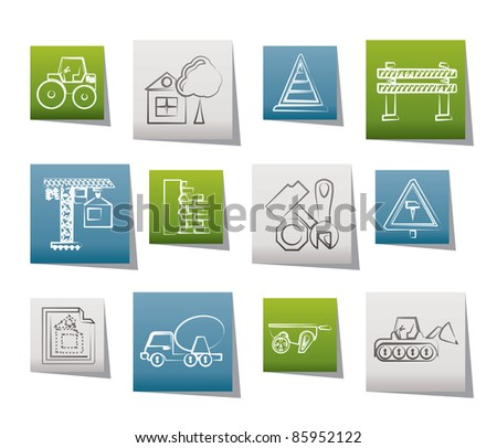Construction and building Icons - vector icon set - stock vector