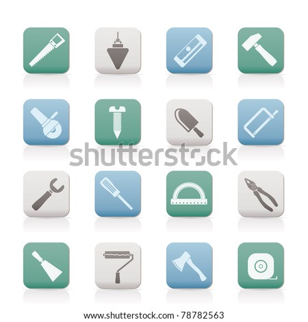 Construction and Building Tools icons - Vector Icon Set - stock vector