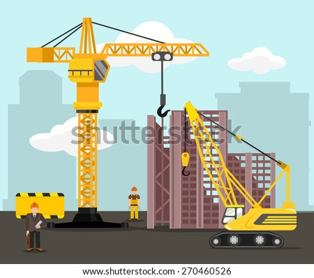 Construction and building vector flat illustration - stock vector