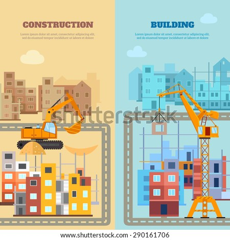 Construction and building vertical banner set with flat houses and machines isolated vector illustration - stock vector